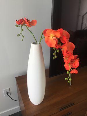 Westelm vase with decorative orchid flower for Sale in South Jordan, UT