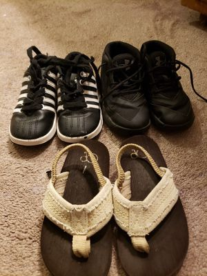 Boys shoes all three for 11 under amour Adidas size 8 for Sale in Modesto, CA