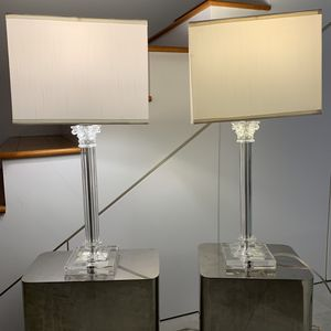Pair of Corinthian Column Glass Lamps for Sale in Wilton Manors, FL