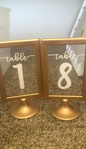 Wedding items - gold table numbers with vinyl (1-16) for Sale in Rancho Cucamonga, CA