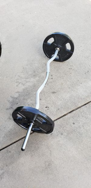 Curl & Dumbbell Bar Barbell Bicep Tricep w/ 50lbs Pounds Weight Plates Brand New for Sale in Fresno, CA