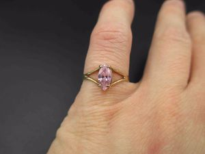 Vintage Size 6 10K Yellow Gold Marquise Pink Cubic Zirconia Diamond Band Ring Wedding Engagement Anniversary Gift Idea Beautiful Elegant for Sale in Lynnwood, WA
