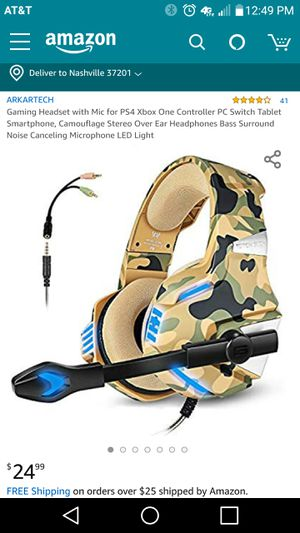 Gaming Headset with Mic for PS4 Xbox One Controller PC Switch Tablet Smartphone for Sale in Lexington, KY