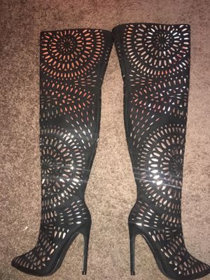 Black and gold thigh high boots for Sale in Tampa, FL