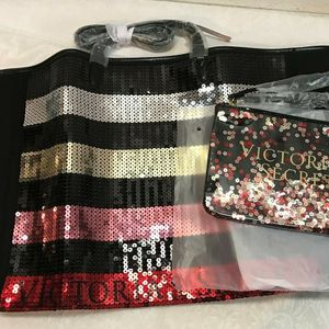 NEW WITH TAGS Victoria Secret Sequin Bling Tote Bag & Pouch FOR SALE🎁 for Sale in Arcadia, CA