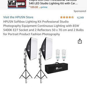 HPUSN Softbox Lighting Kit Professional Studio Photography Equipment Continuous Lighting with 85W 5400K E27 Socket and 2 Reflectors 50 x 70 cm and 2 B for Sale in Riverside, CA