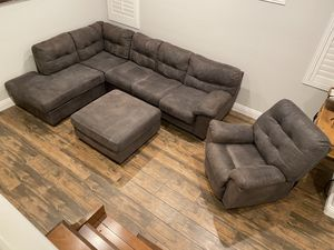 Couch sectional recliner ottoman for Sale in Las Vegas, NV