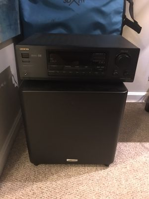 Polk Audio 600 Watt Powered Subwoofer & Onkyo Receiver for Sale in Highland Beach, MD