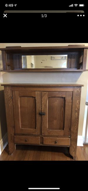 Antique Oak Dish Cabinet with Separate Oak Mirror shelf for Sale in Fort Lauderdale, FL