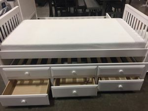 Twin Mission Style Captain Bed (Fully Slated) with Trundle and Drawers, White, SKU 7590 for Sale in Fountain Valley, CA