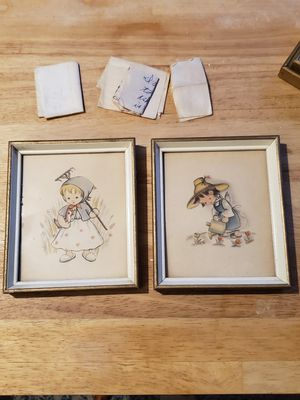 2 small antique pictures W/letters kids passed by putting them in the back of the picture (both for $14.99) for Sale in Columbus, OH