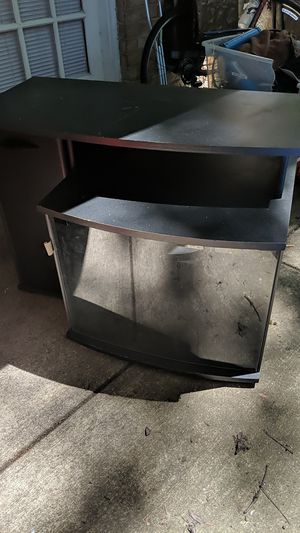 Black TV stand with glass magnetic door and cabinet and red bookshelf with shelves and pyramid step organizer. All pretty good condition for Sale in Fairfax, VA