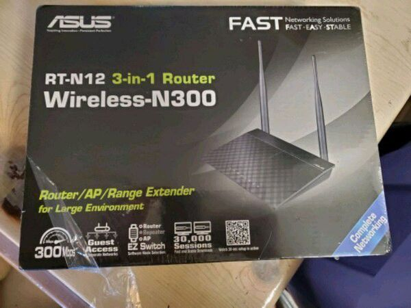 ASUS RT-N12 N300 WiFi Router 2T2R MIMO Technology, 4K HD Video Streaming, VoIP,Up to 300 Mbps,Black
