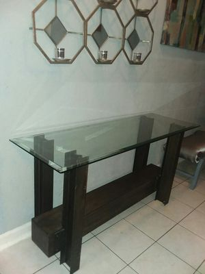 Heavy iron console table with thick beveled glass top for Sale in Missouri City, TX