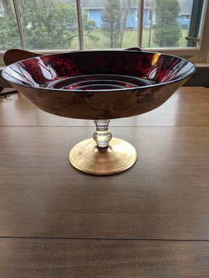 Red & gold decorative glass bowl for Sale in South Attleboro, MA