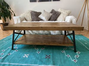 Real wood coffee table with iron metal sides for Sale in New York, NY