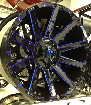 "CANDY BLUE! New 20"" Fuel Contra Gloss Black Blue Rims Wheels 6x135 Ford 6x5.5 Nissan Chevy 20x10 Concave XD Moto for Sale in Tampa, FL"