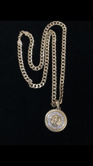 14k gold filled a/silver Cuban chain and charm for Sale in Los Angeles, CA