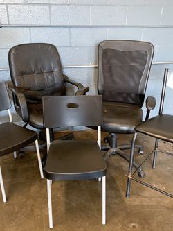 5 Black Chairs! 2 Rolling Chairs, 1 High Chair, 2 Identical Plastic Chairs for Sale in Burbank,  CA