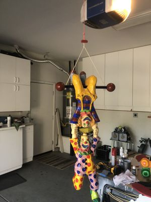 Clown art Beautiful paper Mâché bright colors 3 feet long for the acrobat clowns and hanging balloon clown 27 inches for Sale in Livermore, CA