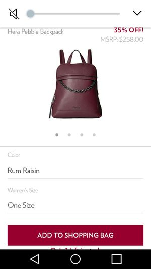 Womens NEW CALVIN KLEIN LEATHER BACKPACK PURSE for Sale in Downey, CA
