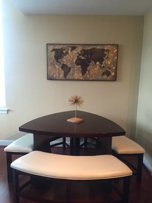 """Triangular wood dining table with 3 benches 30""""(height) x 49""""(width) for Sale in Alexandria, VA"""
