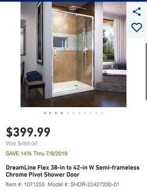 Flex 38 to 42 in. x 72 in. Framed Pivot Shower Door in Chrome for Sale in San Antonio, TX