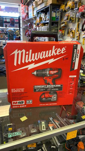 Milwaukee M18 18-Volt Lithium-Ion Brushless Cordless 1/2 in. Compact Drill/Driver Kit with (2) 2.0 Ah Batteries, Charger and Case for Sale in Glendale, AZ