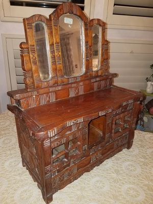 Antique Carved Wooden Jewelry Box Made in Prison with Jack Knife for Sale in Glendale, AZ