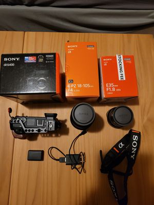 Sony Alpha A6400 + Sony E mount (18-105, 35mm) + Small rig cage for Sale in North Bergen, NJ