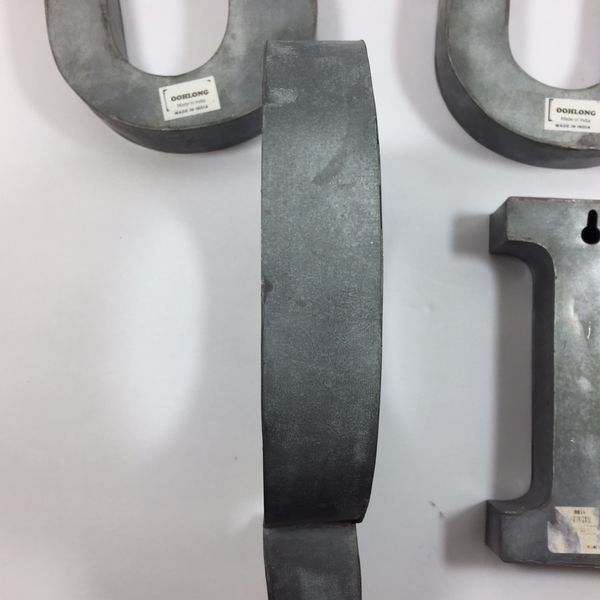 "Metal Zinc Alphabet Letter Oohlong 7"""