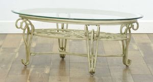 Wrought Iron Oval Beveled Glass Coffee Table for Sale in Pensacola, FL