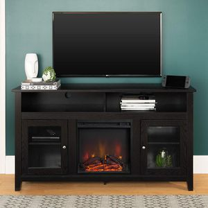 "*Brand New* Walker Edison 58"" Wood Highboy Fireplace TV Stand, Black for Sale in Dublin, OH"