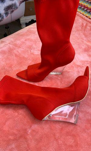 Like New Red peep toe booties for Sale in Jurupa Valley, CA