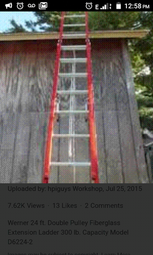 24' fiberglass extension ladder by Werner for Sale in Cambridge, MA