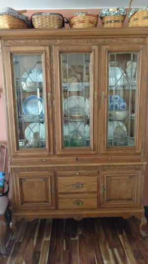 Oak China Closet, 2 pieces stacked for Sale in Midlothian, VA