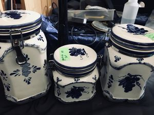 Grape ceramic canister set of 3 locking sealable storage containers for Sale in Galt, CA