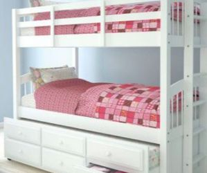 🆕Bunk Bed And Trundle With Two Single Beds - (Twin) White (Not Matress Included for Sale in Miami,  FL