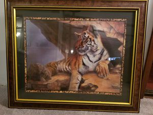 Tiger painting/print in frame for Sale in Puyallup, WA