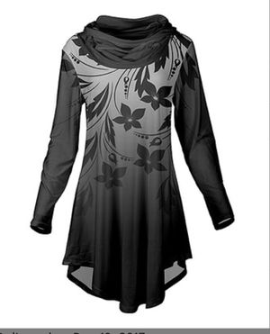 Black & Gray Abstract Floral Cowl Neck Tunic - L for Sale in Cleveland Heights, OH