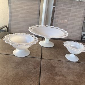 Milk glass pedestal dishes for Sale in San Jose, CA