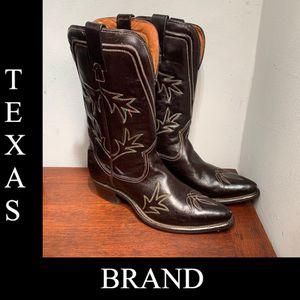 Vintage Texas Boot Company Black Embroidered Leather Cowboy Boots Women's 8C for Sale in St. Petersburg, FL