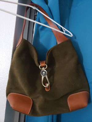 BRAND NEW Dooney & Burke Suede Hobo Logo Lock Satchel Bag Purse in Brown for Sale in Miami, FL