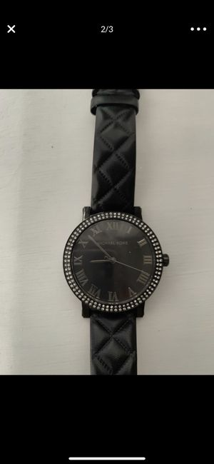 Michael Kors black leather watch for Sale in Tacoma, WA
