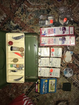 Vintage fishing tackle and tackle box jigs bobbers weights for Sale in Tacoma, WA