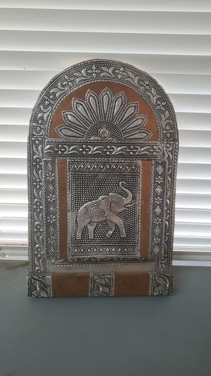 Metal and wood elephant themed organizer for Sale in Tempe, AZ