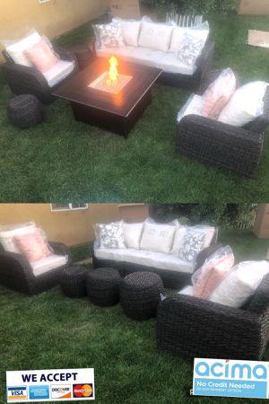 Patio furniture set with fire pit sunbrella for Sale in Riverside, CA