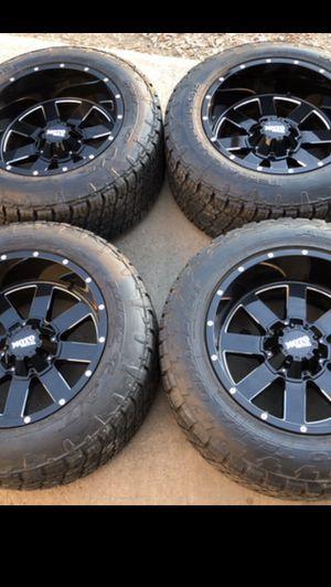 """20x12 Motometal Black Rims And All Terrain Tires 20"""" Moto Metal Wheels 20 Motometals 20s 2500 3/4 ton Rines y llantas Dodge ram Chevy Silverado H2 Hu for Sale in Dallas, TX"""