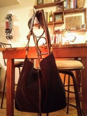 Lucky Brand black genuine suede leather slouchy boho XL hobo shoulder bag tote purse (Retails $228) for Sale in Phoenix, AZ
