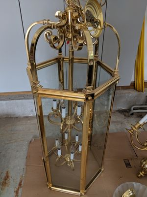 12-light heavy brass and glass chandelier for Sale in Concord, MA